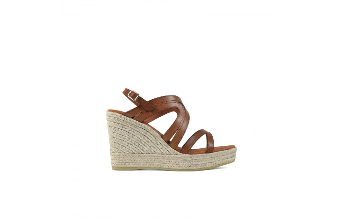 Leather wedge straps sandal