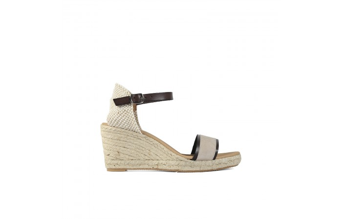 Taupe strap wedge esparto...