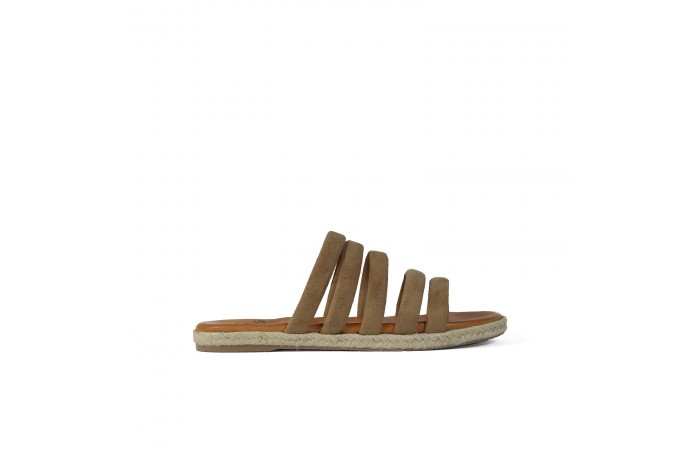 Brown straps flat sandal