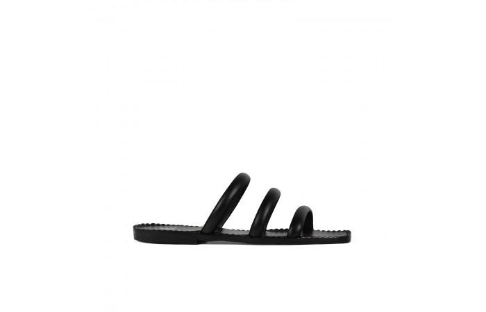 Black straps flat sandal