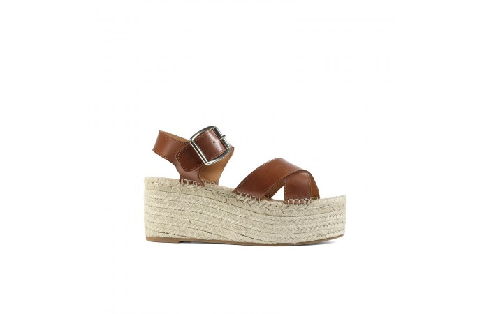 Brown Cross Sandal Esparto...