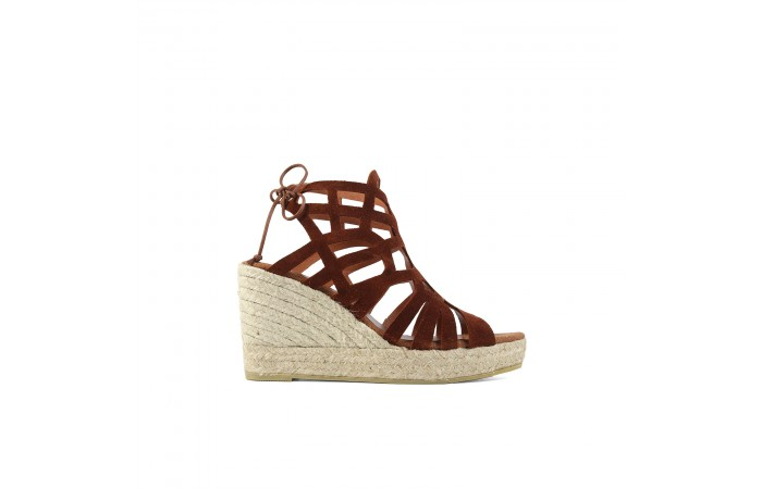 Brown suede wedge straps...