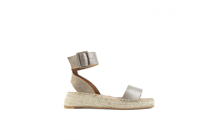 Gray esparto wedge sandals