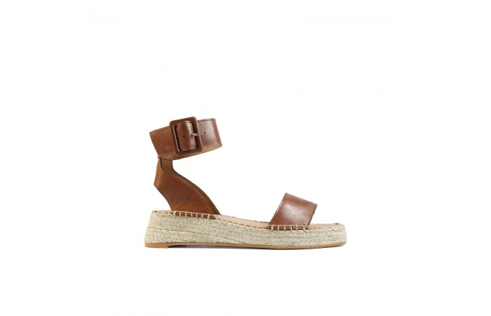 Brown leather esparto wedge...