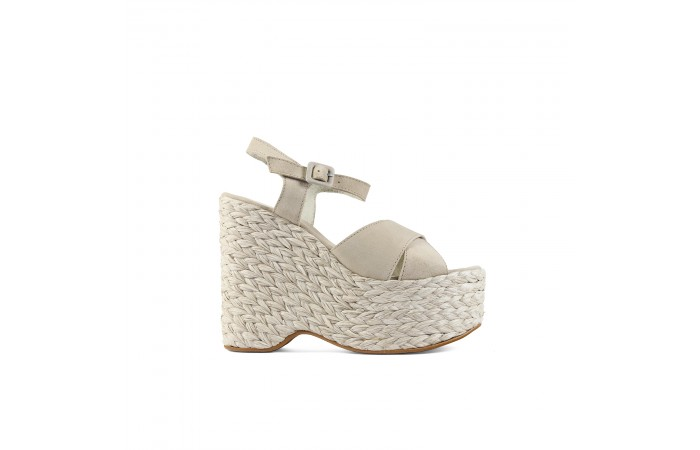 Beige Braided Platform sandals
