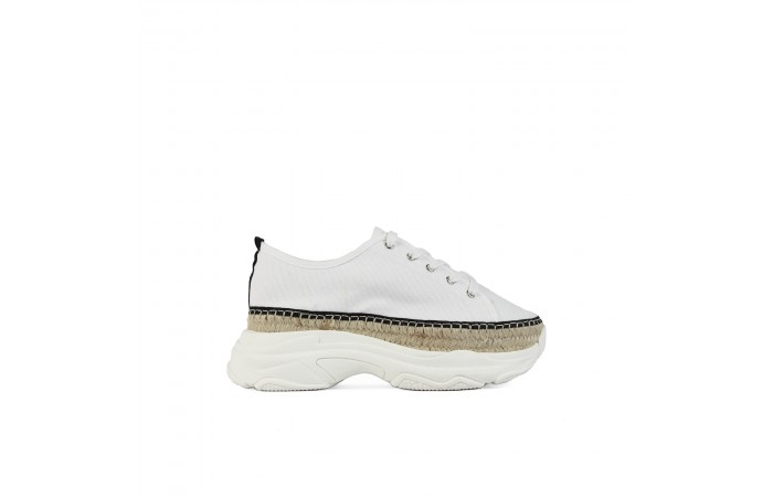 White Cotton platform sneakers