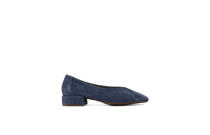 Velvet square heel ballerinas