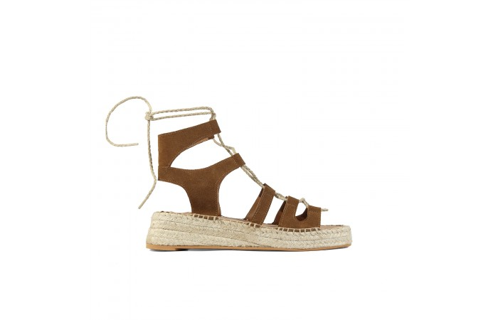 Brown straps wedge esparto...