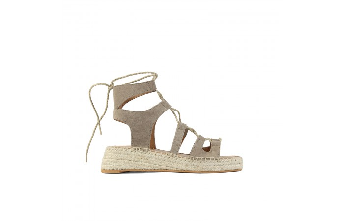 Taupe straps wedge esparto...
