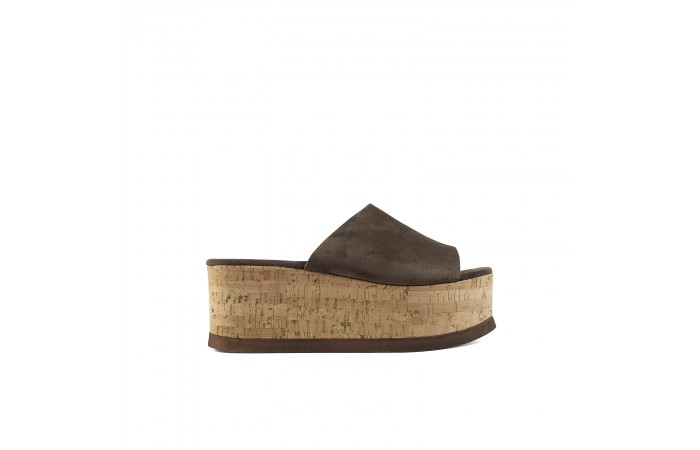 Brown Cork Platform Sandal