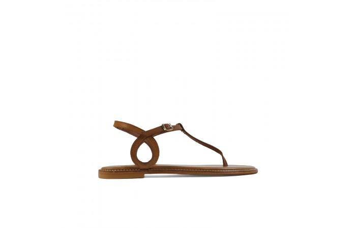 Leather wave flat sandal