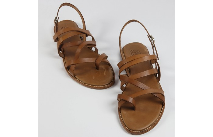 Leather straps flat sandal