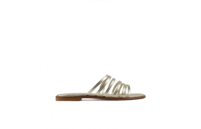 Gold straps flat sandals