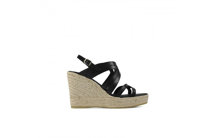 Black wedge straps sandal