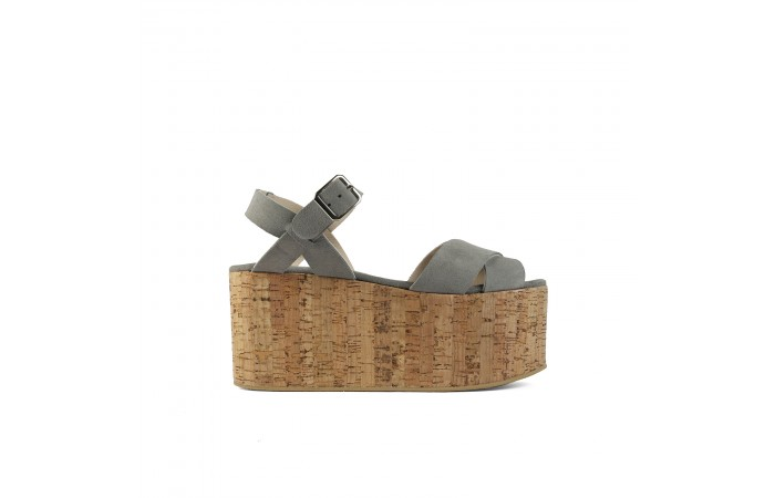 Gray crossed platform sandals