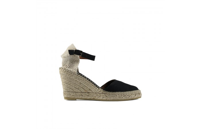Black esparto wedge espadrille