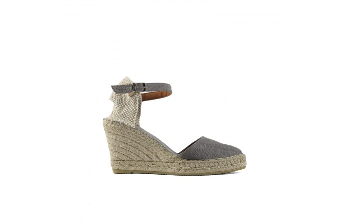 Gray esparto wedge espadrille