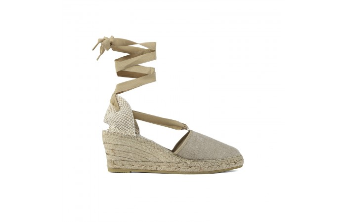 Beige straps esparto wedge...