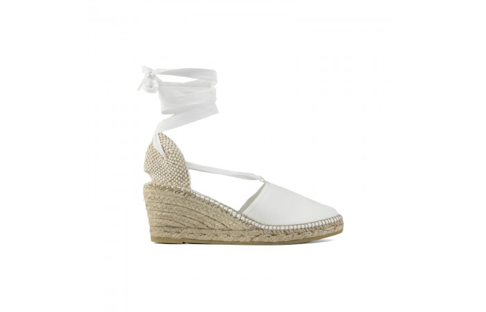 White straps esparto wedge...