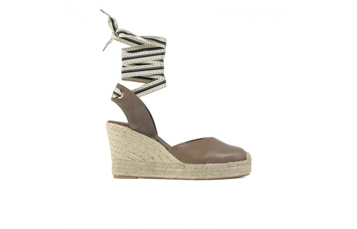 Taupe Esparto Wedge Strap...