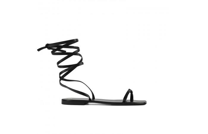 Sandalia plana tiras negra