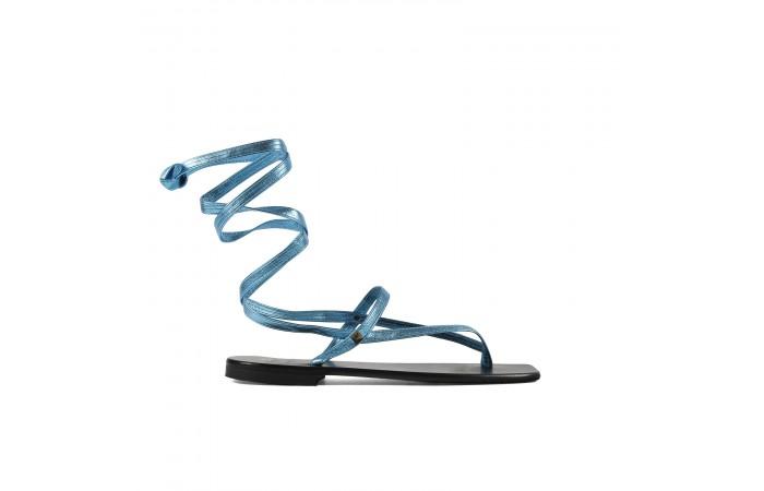 Sandalia plana tiras azul...