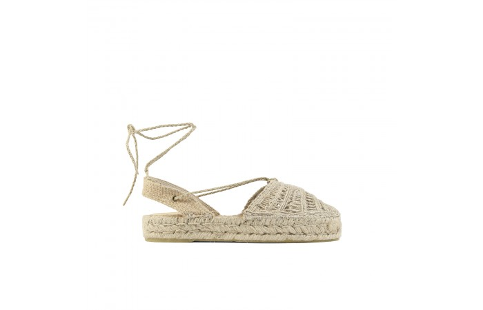 Greek platform esparto sandals