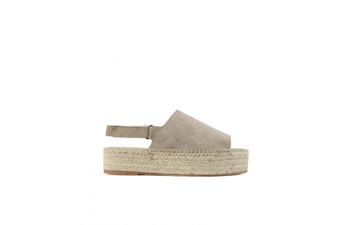 Taupe platform esparto sandal