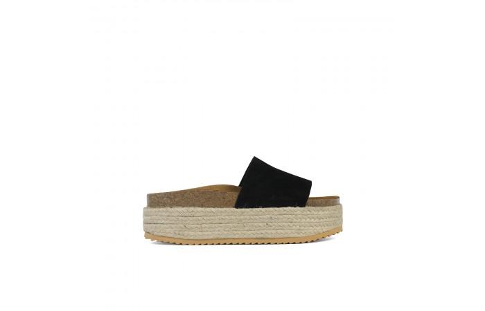 Black Platform Monk sandal