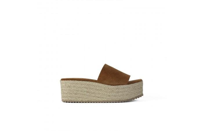 Camel esparto platform sandals