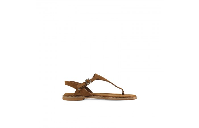 Camel flat T sandal