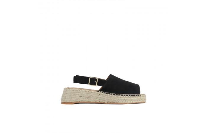 Black suede wedge sandal