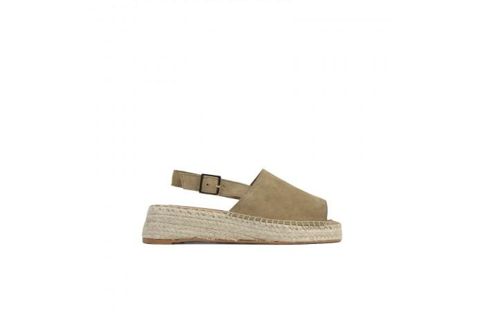 Beige suede wedge sandal