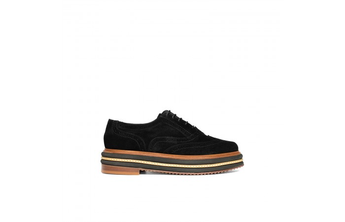 Black suede laminated Oxford