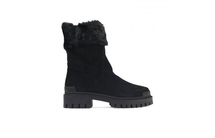 Black suede soft boots