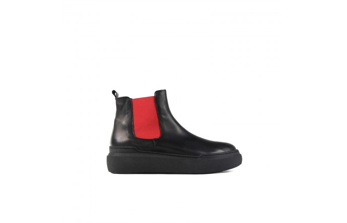 Red & black platform boots