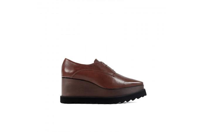 Brown Woody Platform Shoe