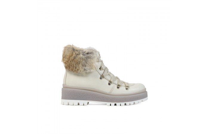 Cream hair soft platform boots