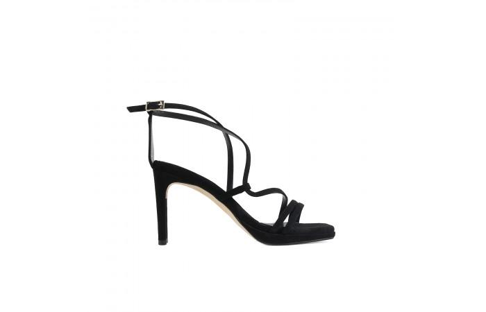 Black geometric heel sandal