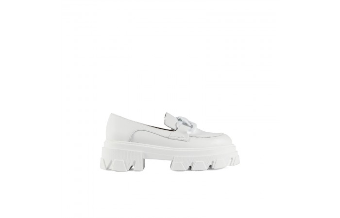 White Buckle Joy Loafer