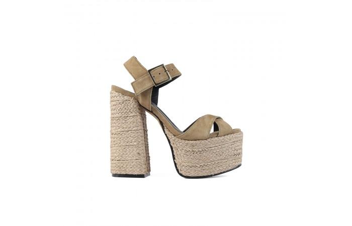 Beige platform heeled Grace...