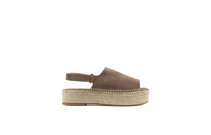 Brown platform esparto sandal