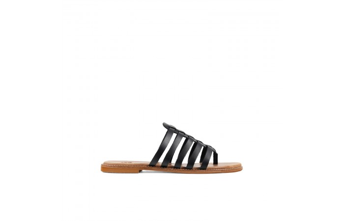Black Roman Flat Sandal