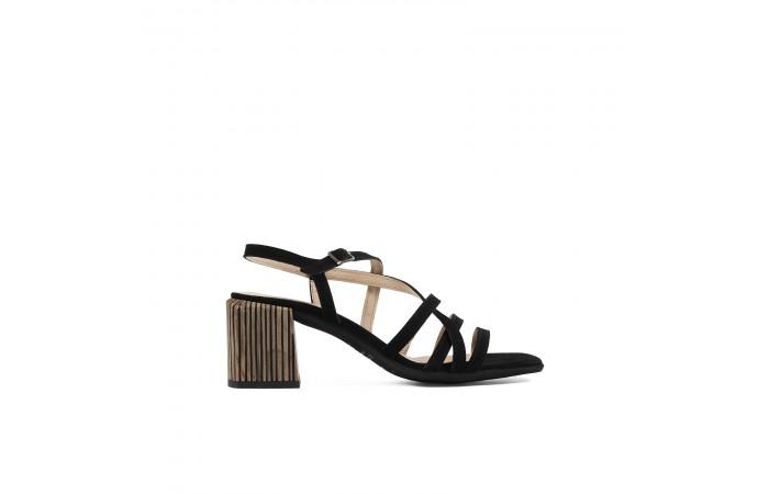 Black Strips Amelia heeled...