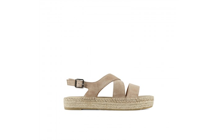 Beige Crossed esparto sandal