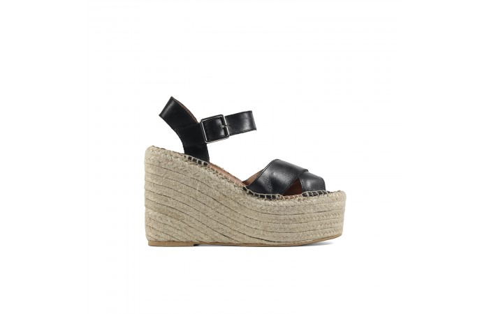 Black Cross Sandal Esparto...