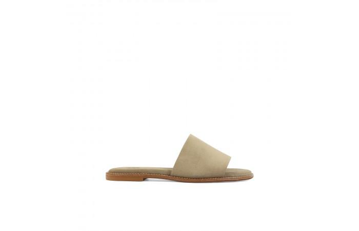 Camel suede strap sandals