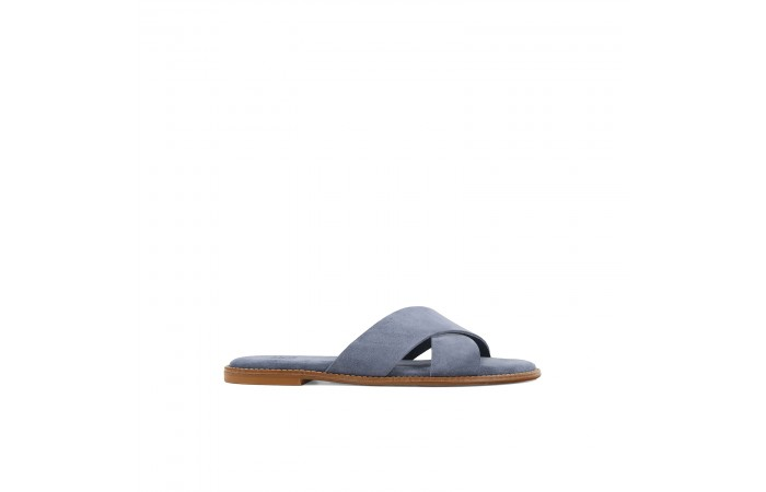 Blue suede crossed sandals
