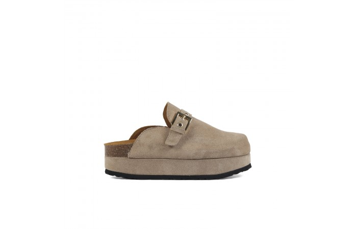 Taupe platform buckle clogs