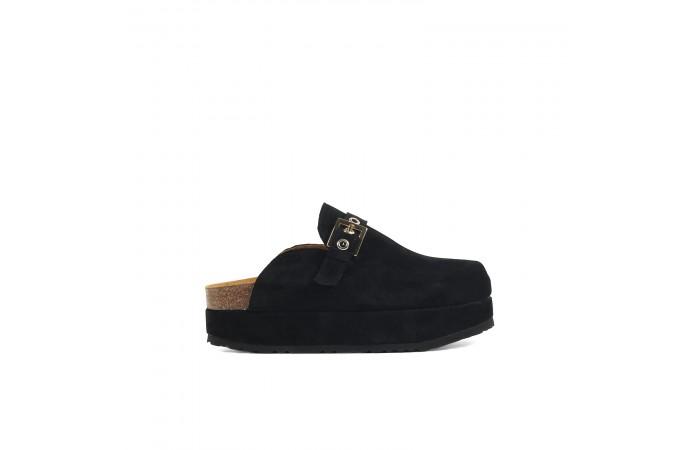 Black platform buckle clogs